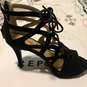 Report Strappy Black Heels